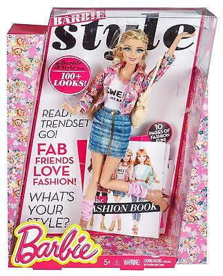 Barbie Style Doll Floral With Fashion Book
