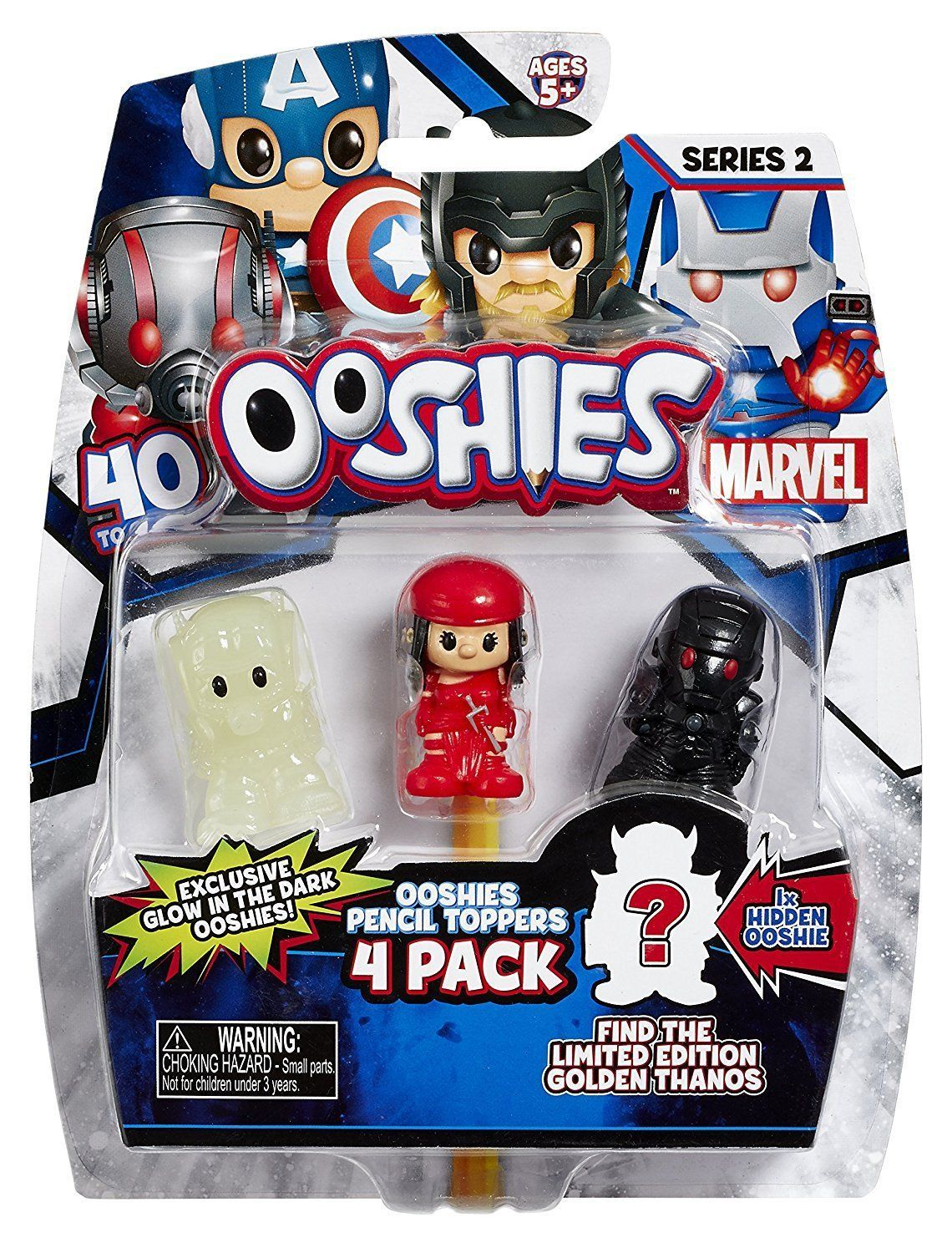 ooshies 4 pack series 2 marvel pencil toppers ant man elektra iron man